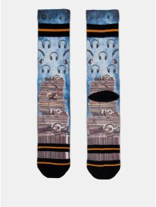 Hnědo-modré pánské ponožky s motivem desek a sluchátek XPOOOS 497a759830