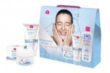 Dermacol Aqua Beauty pro ženy denní pleťová péče 50 ml + mycí gel na obličej 3 v 1 150 ml + čisticí micelární voda 400 ml dárková sada