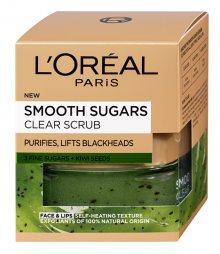 Loreal Paris Čisticí peeling proti černým tečkám s obsahem semínek z kiwi (Smooth Sugars Clear Scrub) 50 ml