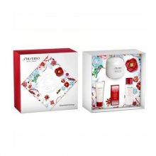 Shiseido Essential Energy Moisturizing Cream denní pleťová péče 50 ml + pleťové sérum Ultimune 5 ml + čisticí pěna Clarifying Cleansing Foam 15 ml + pleťová voda Treatment Softener 30 ml dárková sada