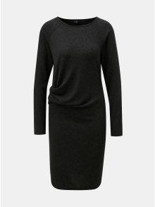 Tmavě šedé žíhané šaty s dlouhým rukávem a řasením na boku VERO MODA Keiko