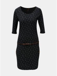 Tmavě šedé vzorované šaty s kapsami a 3/4 rukávem Ragwear Tanya