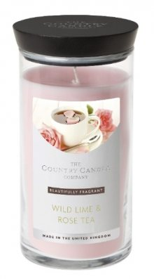 Country Candle Vonná svíčka ve skleněné dóze Limetka a čajová růže (Wild Lime & Rose Tea) 630 g