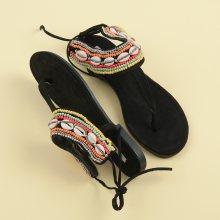 Efektivní černé vázané sandály s etnickým vzorem