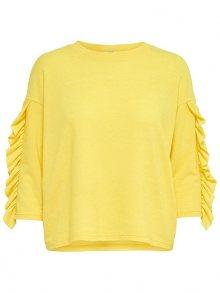 ONLY Dámský svetr Ida Spring 3/4 Ruffle Pullover Knt Golden Kiwi S
