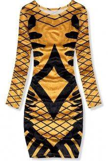Žluté vzorované sametové šaty
