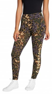 Converse Dámské legíny Animal Camo Metallic Wordmark Legging Dusky Green Multi XS