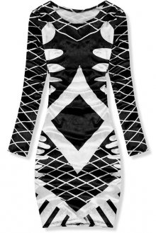 Černo-bílé vzorované sametové šaty