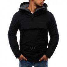 Pánská bunda větrovka s kapucí černá