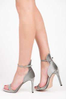 Elegantní šedé sandálky se zapínáním na přes nárt