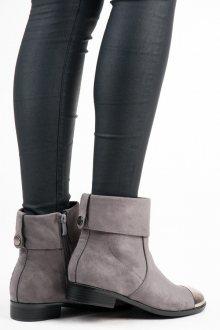 Semišové šedé kotníkové boty s metalickou špičkou