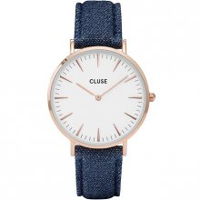 Cluse La Bohème Rose Gold White/Blue Denim CL18025