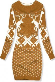 Mustard pletené šaty se zimním motivem