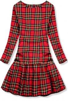 Červené kárované šaty