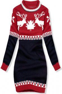 Modro-červené zimní pletené šaty