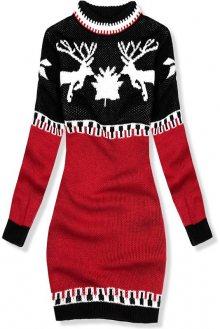 Červeno-černé zimní pletené šaty