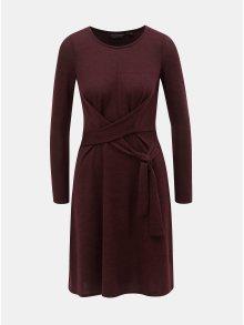 Vínové svetrové šaty se zavazováním Dorothy Perkins