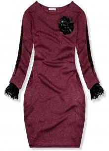 Bordó šaty s broží