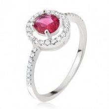 Stříbrný prsten 925 - kulatý růžovočervený zirkon, čirá obruba M15.11