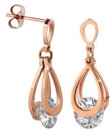 Troli Růžově pozlacené ocelové náušnice s krystaly KE-009
