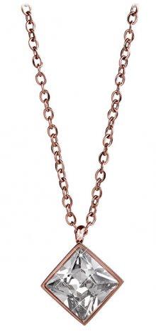 Troli Růžově pozlacený ocelový náhrdelník s čtvercovým přívěskem