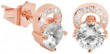 Troli Růžově pozlacené třpytivé náušnice s čirými krystaly
