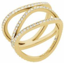Michael Kors Pozlacený ocelový prsten s krystaly MKJ6638710 58 mm