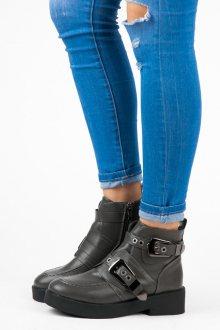Moderní šedé kotníkové boty s přezkami