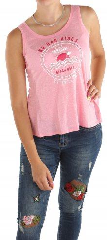 Dámské růžové tričko s potiskem Chache Cache