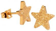 Troli Třpytivé pozlacené náušnice z oceli Hvězdičky KE-008