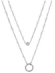 Troli Dvojitý náhrdelník s kroužkovými přívěsky z oceli