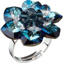 Evolution Group Stříbrný prsten s krystaly Swarovski modrá kytička 35012.5