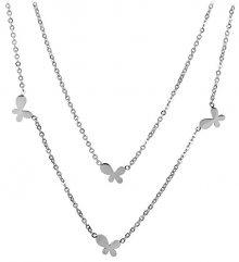 Troli Dvojitý ocelový náhrdelník s motýlky