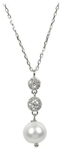 JwL Luxury Pearls Jemný náhrdelník s perlou a krystaly JL0183 (řetízek, přívěsek)