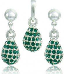 MHM Souprava šperků Kapka M4 Emerald 3485 (náušnice, řetízek, přívěsek)