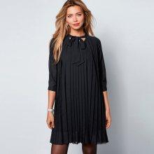 Venca Plisované šaty se 3/4 rukávy černá S