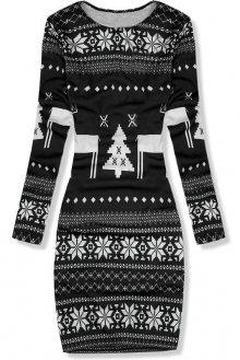 Černé šaty se zimním potiskem