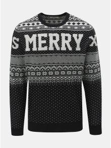 Bílo-černý svetr s vánočním motivem Jack & Jones Flake