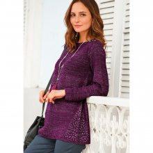 Blancheporte Tunikový originální pulovr švestková 50