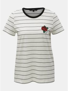 Černo-bílé pruhované tričko s výšivkou VERO MODA