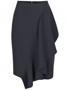 Tmavě modrá sukně s volánem Closet