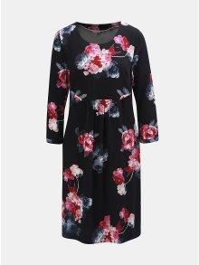 Růžovo-černé květované šaty s 3/4 rukávem Tom Joule