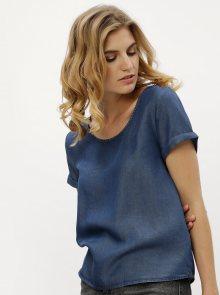 Modré tričko s rozparkem a uzlem na zádech Noisy May Cassy