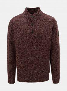 Vínový žíhaný svetr z Merino vlny Fynch-Hatton