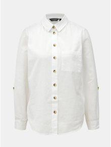 Bílá košile s náprsní kapsou a s příměsí lnu Dorothy Perkins
