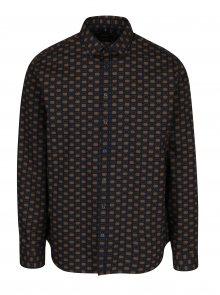 Hnědo-modrá vzorovaná tailored fit košile Seidensticker