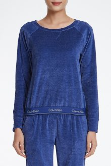 Calvin Klein modrá dámská mikina z mikroplyše L/S Sweatshirt - XS