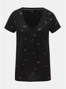 Černé tričko s potiskem ONLY Sabella