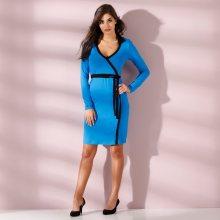 Blancheporte Dvoubarevné šaty s překřížením modrá/černá 38/40