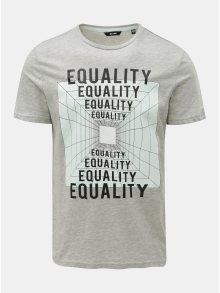 Šedé žíhané tričko s potiskem ONLY & SONS Fore